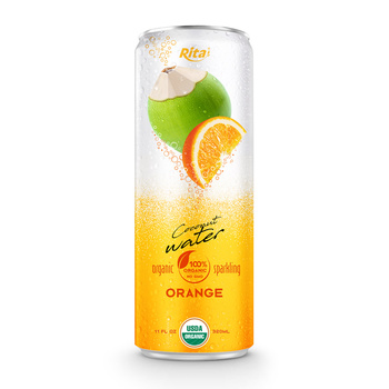 OEM 320ml canned Organic Sparkling Orange flavor coconut water