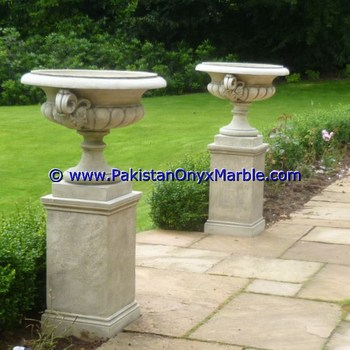 HIGH QUALITY MARBLE PLANTERS HANDCARVED DECORATED FLOWER VASE POTS INDOOR OUTDOOR GARDEN BEIGE COLOR MARBLE