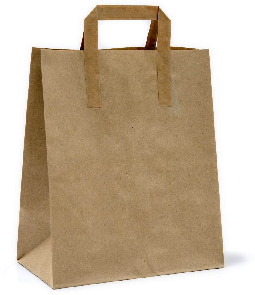 ECO PAPER BAG KRAFT FOOD TAKE AWAY SHOPPING 26 X 14 X 30cm