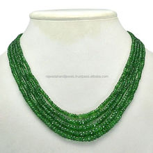 Tsavorite Garnet Gemstone round bead Necklace cheap as price per caret