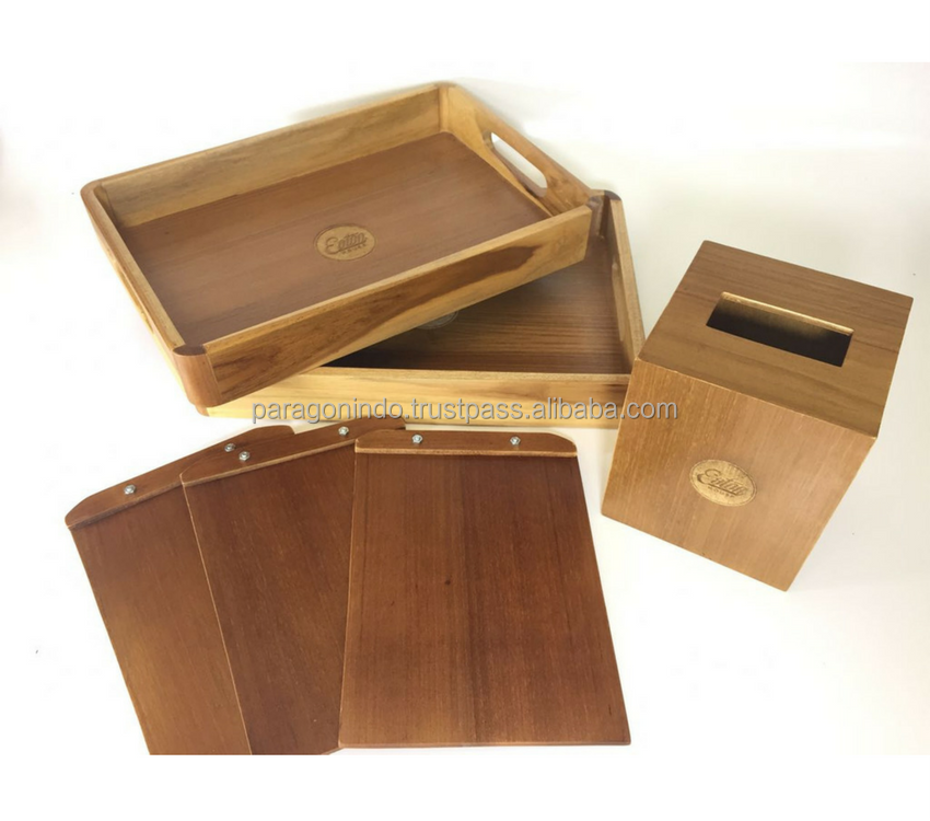 Natural Color Wooden Tray with Material from Teak & Plywood Indonesia Furniture