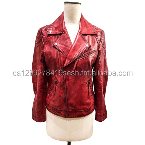 Ladies Sheep Leather Vintage Motorbike Jacket