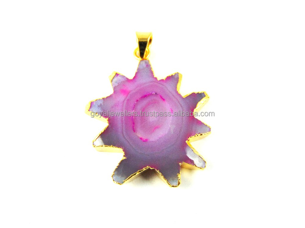 Marvelous Pink Slice Window Druzy Gemstone 24k Gold Plated Pendant Wholesale Jewelry Gj-299