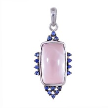 Natural rose quartz pendant with blue saffire in 925 sterling silver