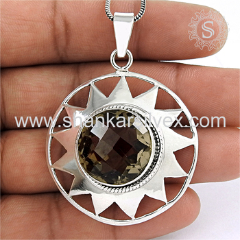 Impressive design smoky quartz gemstone pendant 925 sterling silver jewelry pendants wholesaler