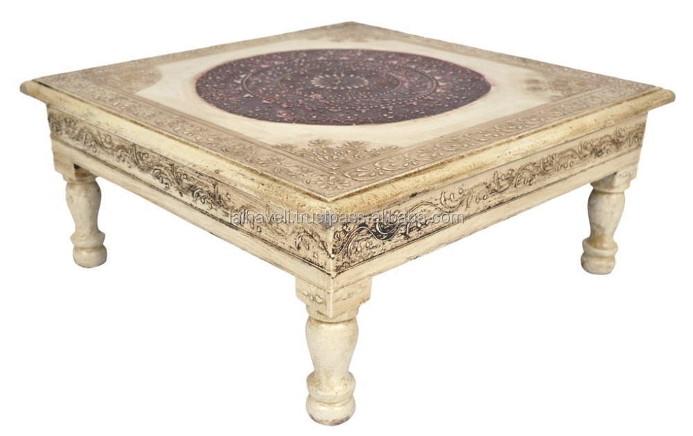 Indian Wooden Handicrafts Meenakari Painted Square Pooja End Side Furniture Unique End Table