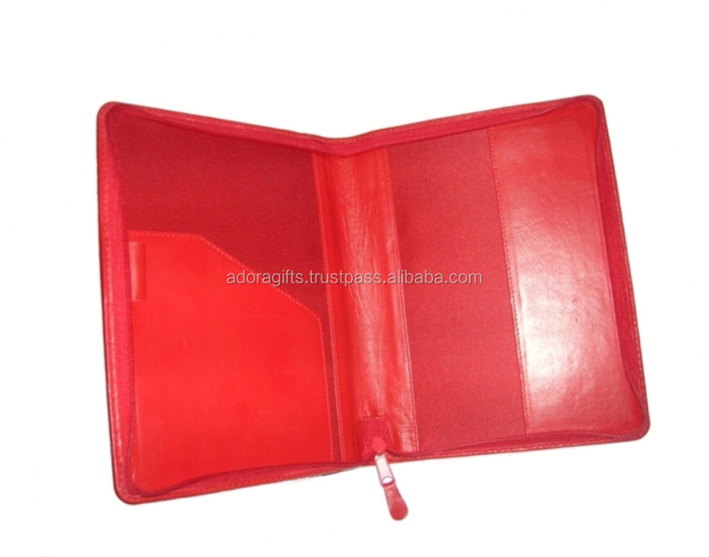 A5 Zipper Closure PU Leather Handmade Leather Diary Cover / Leather Bible Cover