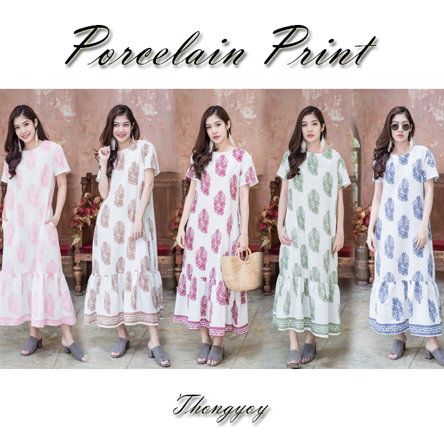 Thongyoy's Porcelain Maxi Ruffles Dress