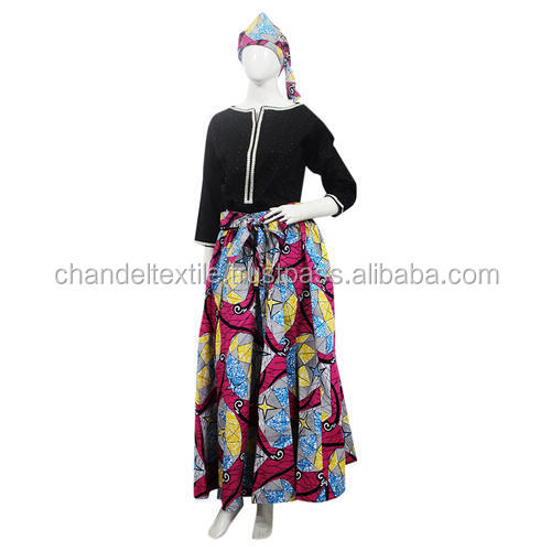 African Skirt (With Head Band) cotton wax belt Skirt Maxi Vintage Women African Hippie High Waist Skater Flared Pleated Skirt
