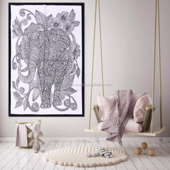 Indian Handmade Ethnic Poster Tapestry Throw Cotton Yoga Mat Elephant Design Meditation Wall Hanging