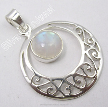 Buy Colourful Antique Style Jewelry Wholesaler .925 Solid Silver BLUE FIRE RAINBOW MOONSTONE BESTSELLER FILIGREE Pendant 1.5""