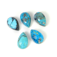 5 Pcs Wholesale lot natural mohave turquoise gemstone 13x8mm pear rose cut gemstone for jewelry