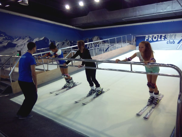 Indoor ski simulator Recreation training on snowboarding machines Fun recreation ride on dry slopes