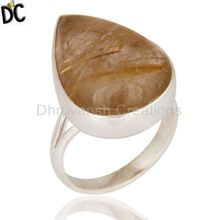 Natural Golden Rutile Gemstone Rings Handmade 925 Silver Ring Jewelry Manufacturer