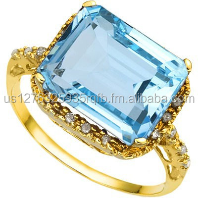 EXCLUSIVE 7.74 CARAT TW (19 PCS) BLUE TOPAZ & GENUINE DIAMOND 10K SOLID YELLOW GOLD RING