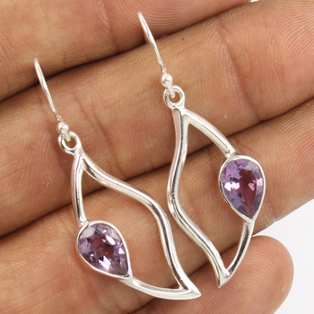 Stylish Trendy Fashion Earrings 925 Sterling Silver Natural AMETHYST Gemstones Unique Jewelry Earrings