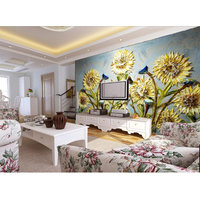 New arrival sunflower wall paper oil paint 3d wall mural for living room