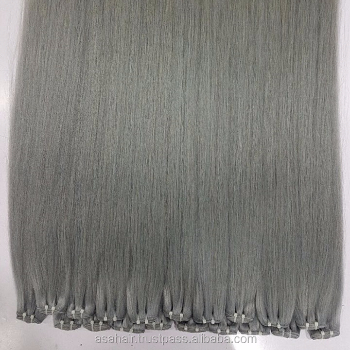 2018 hot new product double drawn raw unprocessed silver grey virgin hair weft, Cuticle aligned hair weave