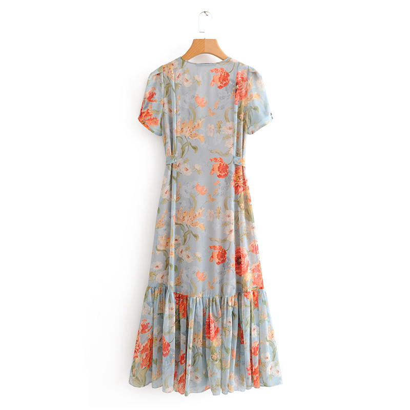 Women European American style flower print long dresses women party