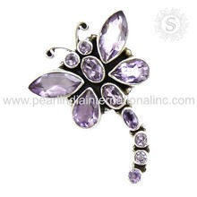 Hot butterfly design 925 sterling silver pendants real amethyst gemstone silver jewelry handmade 925 silver pendant india