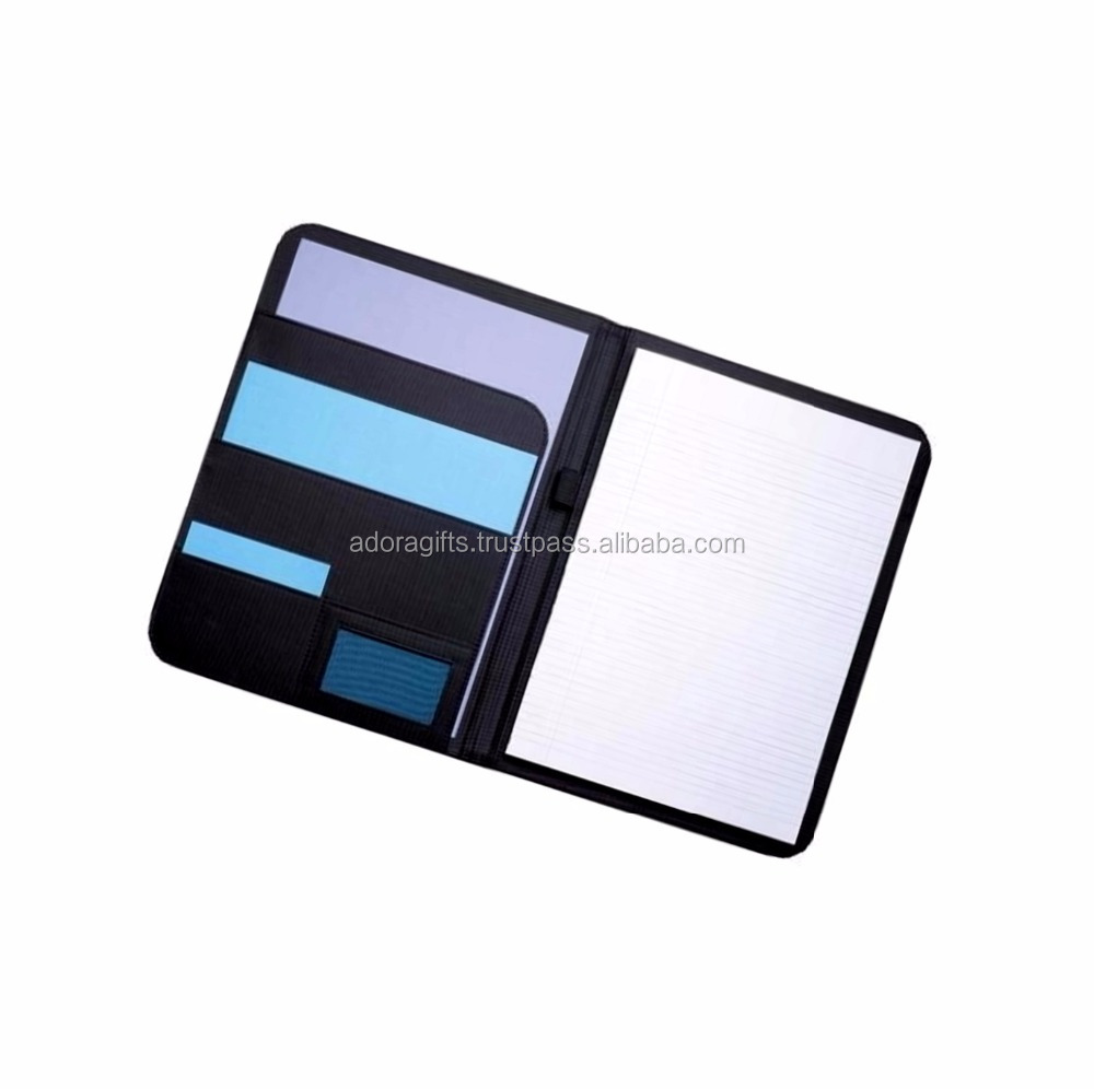 Branded folders / Simple Black Leather Folder / document folder leather