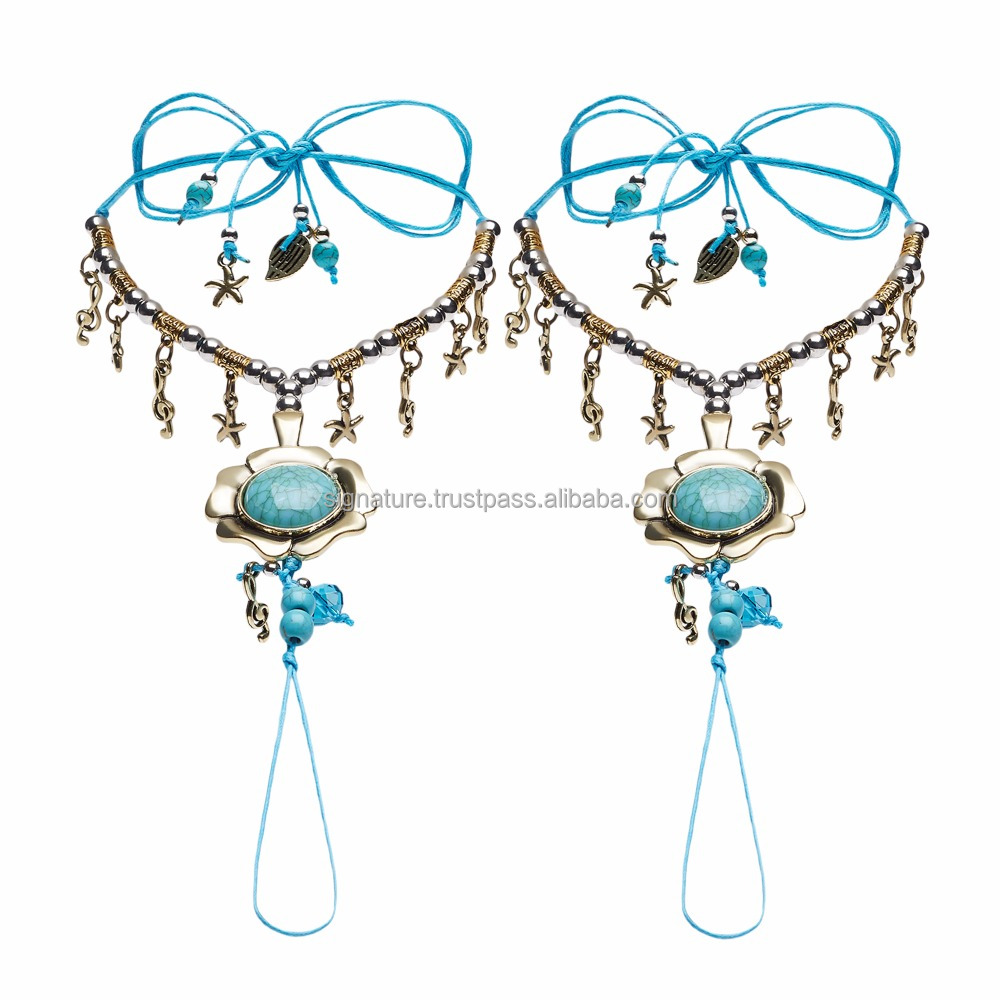 Barefoot Sandals Beach Wedding Shoes Chains Foot Jewelry Feet Leg Bracelets With Toe Ring Stones Charms Indian Boho Anklets