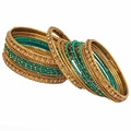 Gold Plated Green Color Glass Stone Thread Work Bangles Size: 2.10
