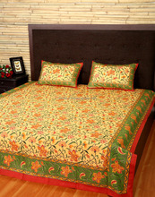 Latest Design Straw Yellow And Green Floral Leaves Printed Cotton Double Bed Sheet