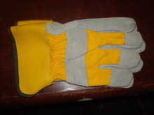 PRO General Leather Gloves & Cotton Yellow Gray Working Leather Gloves