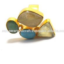 gold plated Natural Multi Stone Adjustable Ring