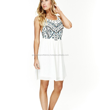 New Arrival Indian White Embroidered Mini Dress