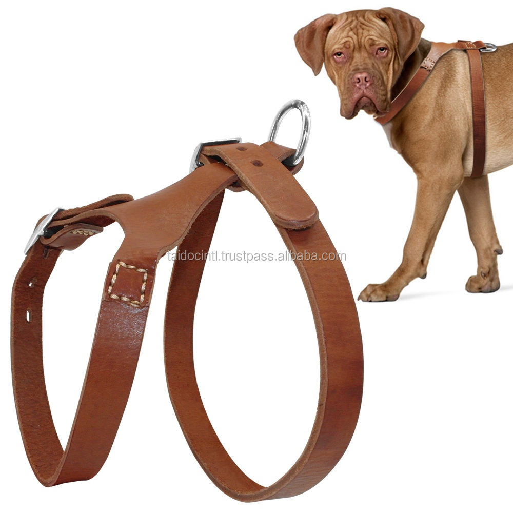 Brown Handcraft Leather Dog Harness Heavy Duty For Large Dogs /Best quality by TAIDOC