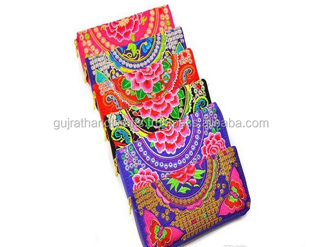 Handmade Vintage Double Sided Embroidered Women Long Wallet Card Holder Vintage Banjara Handbag embroidered clutch bag
