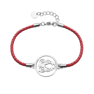 NEW Simple Styles Lobster Clasp With Logo Engraved Stainless Steel Round Disc Genuine Leather Owl Bracelet