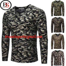 Brussels Sports Mens Casual Camouflage Camo Military Army Long Sleeve Shirt V Neck T-Shirt M-3XL