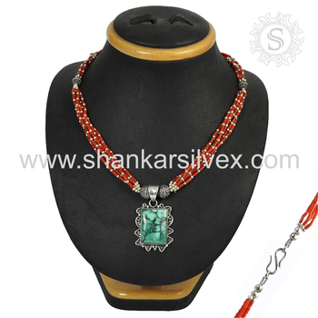 Phenomenal coral & turquoise gemstone necklace handmade silver jewelry 925 sterling silver necklaces jewellery wholesalers