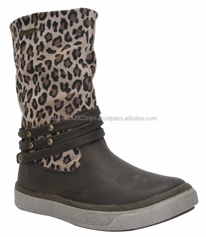 Best Selling Fashion Boots for Baby Shoes Espresso Leopard Design
