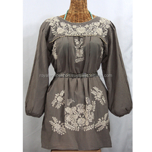 Women's Grey Blouse Embroidery Boho Latest Design Summer cheap blouse heavy knit cotton Tunic Top With Adjustable Belt