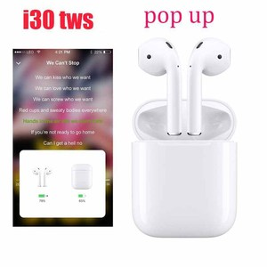 2019 best headphones i30 tws wireless charger touch control 5.0 mini wireless earphone with popup