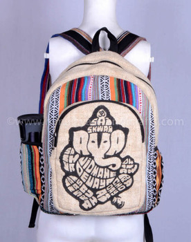 Pure Ganesh Printed Hemp  Canvas Backpack HBBH 0037
