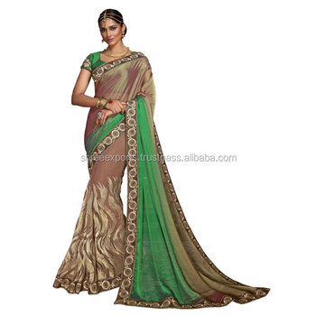 Multi Color Georgette Designers Saree / Buy Designer Saree Online / Saree Collection Online Shopping