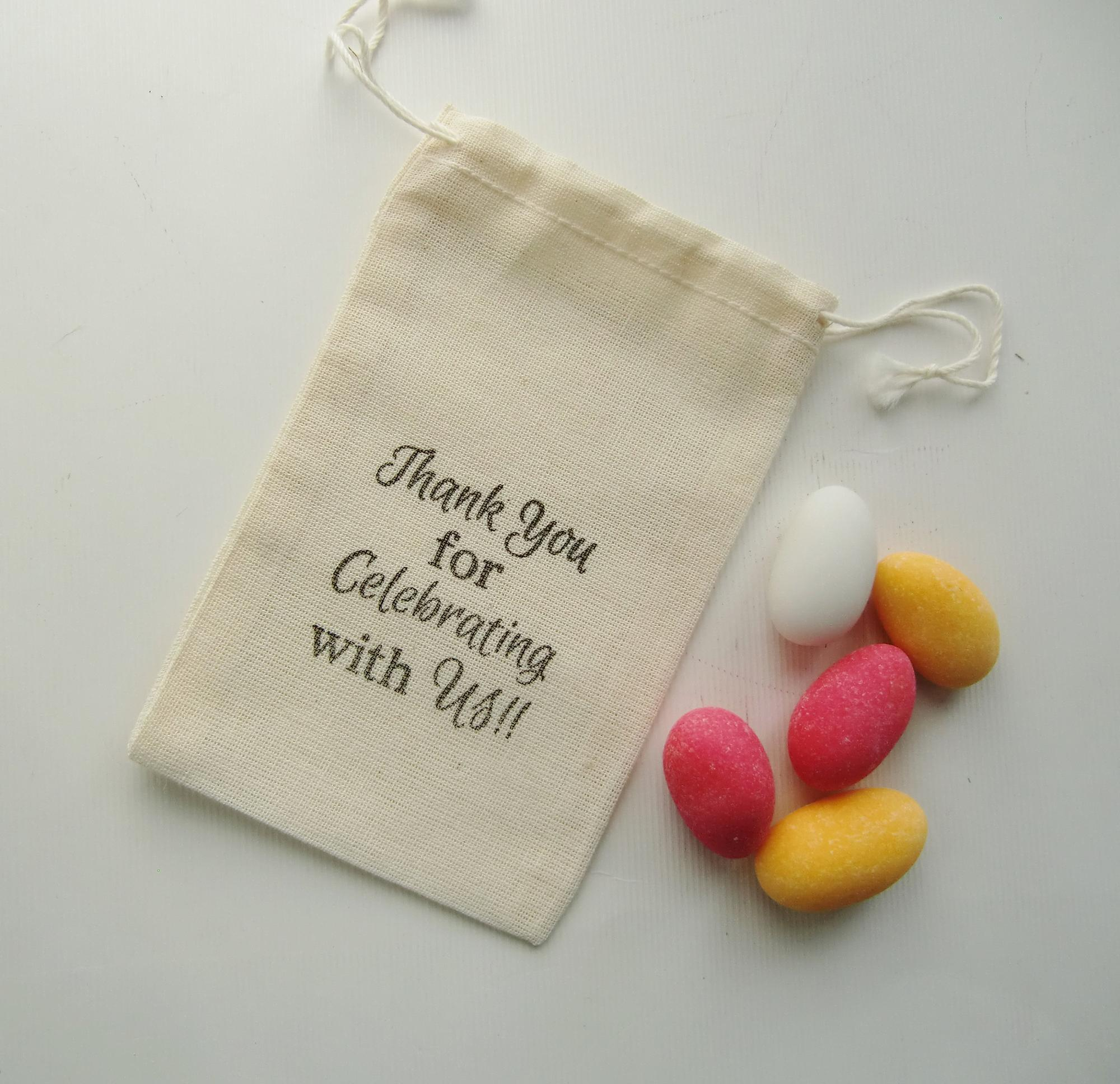 High quality wedding favor custom cotton drawstring bags