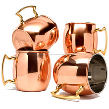 2017 new style hammered gold fda certified moscow mule 100% solid pure copper mugs