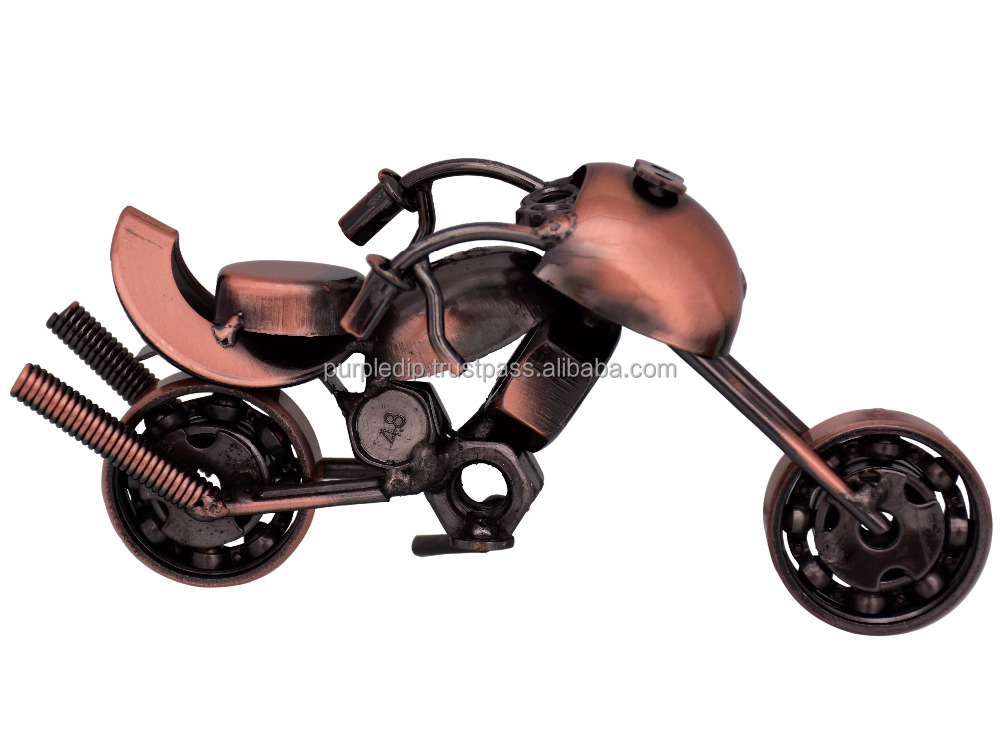 Collectible: Handcrafted Rustic Miniature Motorcycle Bike Showpiece Gift For Road Enthusiasts (10714)