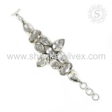 Resplendent crystal gemstone bracelet supplier 925 sterling silver jewellery exporter