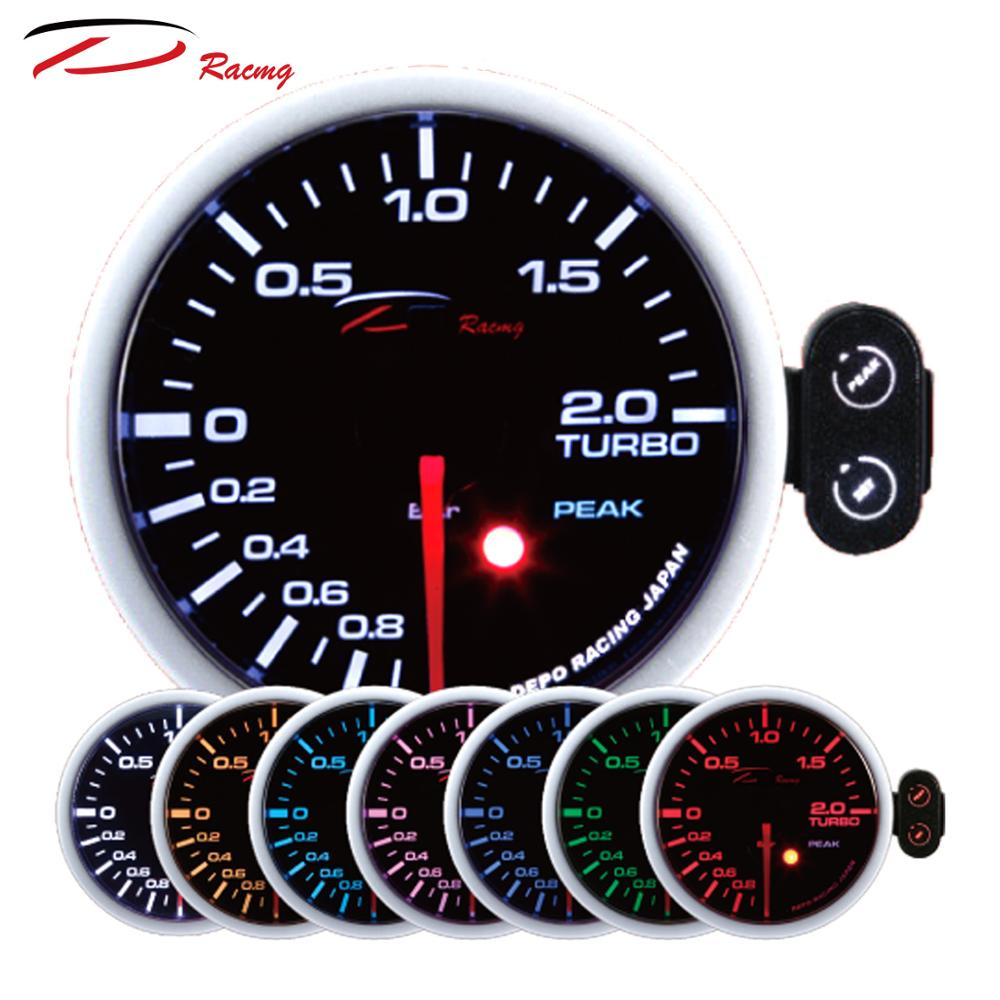 52mm 2 BAR Boost 7 Colors with Warning and Peak Recall Function Smoked Lens Japan Stepper Motor with t fitting Turbo Boost Gauge