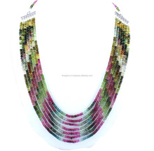 "Natural Multi Tourmaline Smooth Rondelle 7 strands Beads 24"" necklace"