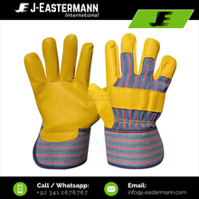 Yellow Leather Working Gloves, made of grain leather with long lasting rubberized cuffs