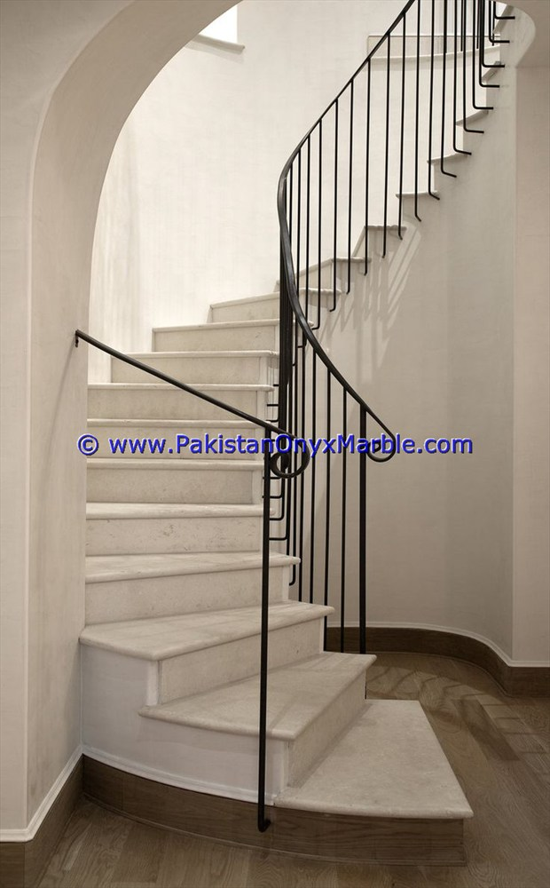 MARBLE STAIRS STEPS RISERS ZIARAT WHITE CARRARA MARBLE MODERN DESIGN HOME OFFICE DECOR NATURAL MARBLE STAIRS