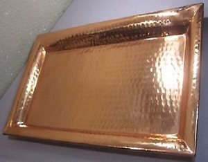 Glossy Hammered Copper Tray
